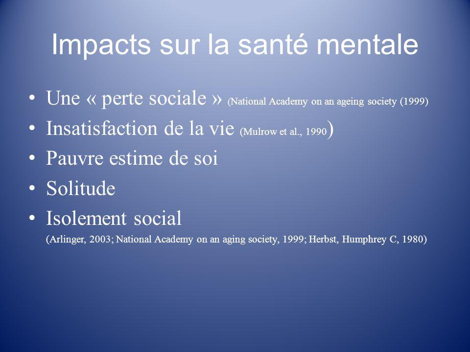 Impacts sur la santé mentale Une « perte sociale » ( National Academy on an ageing society (1999) Insatisfaction de la vie (Mulrow et al., 1990 ) Pauv