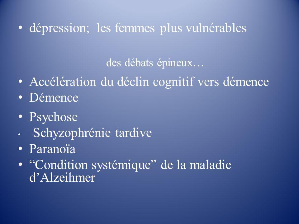 dépression; les femmes plus vulnérables des débats épineux… Accélération du déclin cognitif vers démence Démence Psychose Schyzophrénie tardive Parano