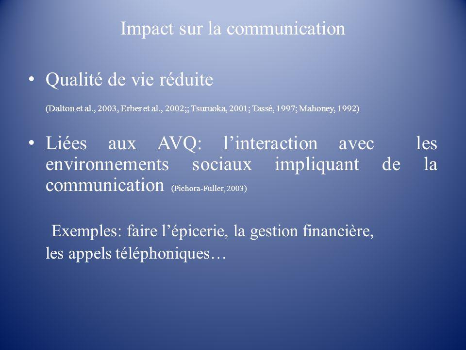 Impact sur la communication Qualité de vie réduite (Dalton et al., 2003, Erber et al., 2002;; Tsuruoka, 2001; Tassé, 1997; Mahoney, 1992) Liées aux AV