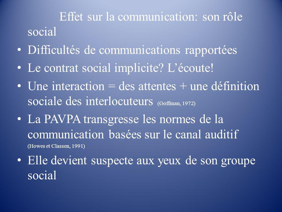 Effet sur la communication: son rôle social Difficultés de communications rapportées Le contrat social implicite? Lécoute! Une interaction = des atten