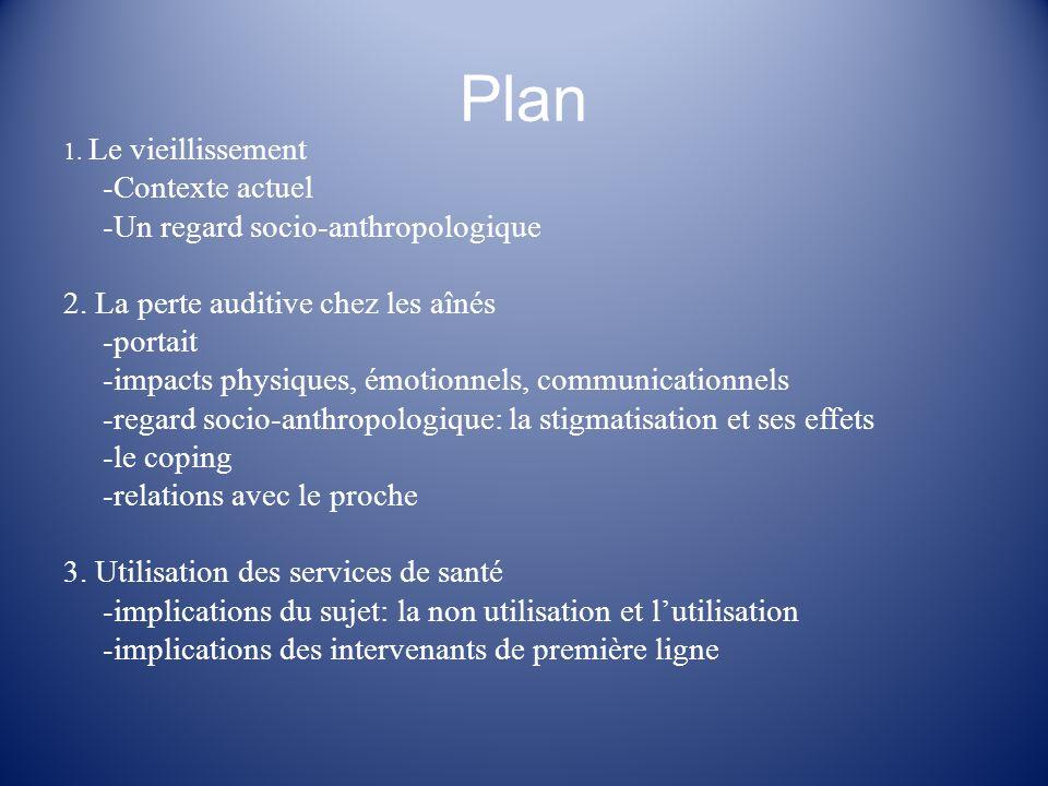 Plan 1. Le vieillissement -Contexte actuel -Un regard socio-anthropologique 2. La perte auditive chez les aînés -portait -impacts physiques, émotionne