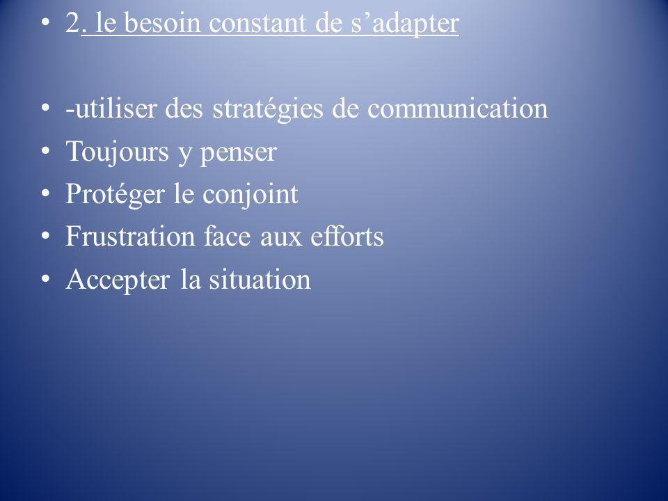 2. le besoin constant de sadapter -utiliser des stratégies de communication Toujours y penser Protéger le conjoint Frustration face aux efforts Accept