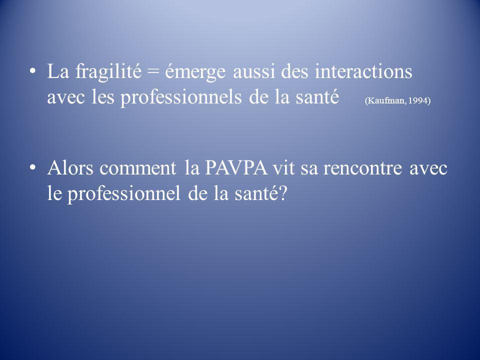 La fragilité = émerge aussi des interactions avec les professionnels de la santé (Kaufman, 1994) Alors comment la PAVPA vit sa rencontre avec le profe