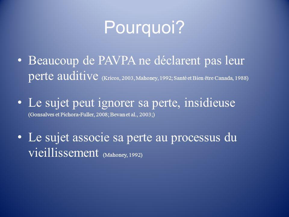 Pourquoi? Beaucoup de PAVPA ne déclarent pas leur perte auditive (Kricos, 2003, Mahoney, 1992; Santé et Bien être Canada, 1988) Le sujet peut ignorer