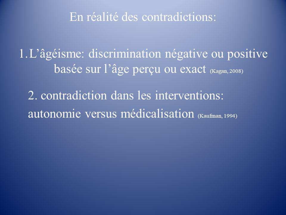 En réalité des contradictions: 1.Lâgéisme: discrimination négative ou positive basée sur lâge perçu ou exact (Kagan, 2008) 2. contradiction dans les i