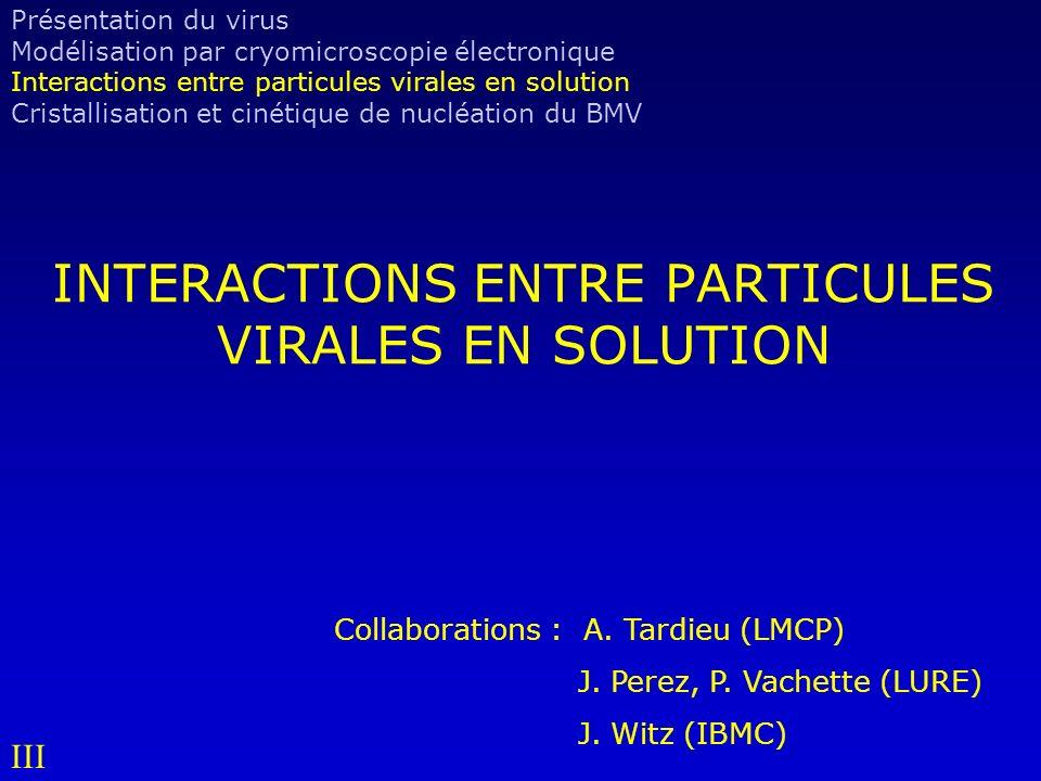 INTERACTIONS ENTRE PARTICULES VIRALES EN SOLUTION Collaborations : A.