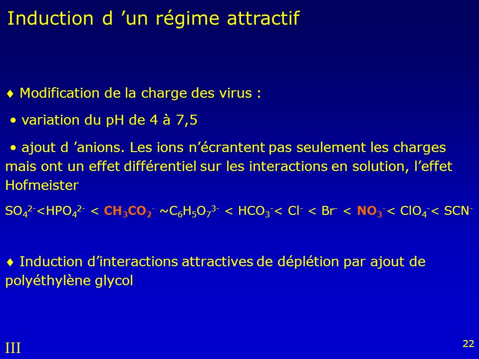 22 Modification de la charge des virus : variation du pH de 4 à 7,5 ajout d anions.