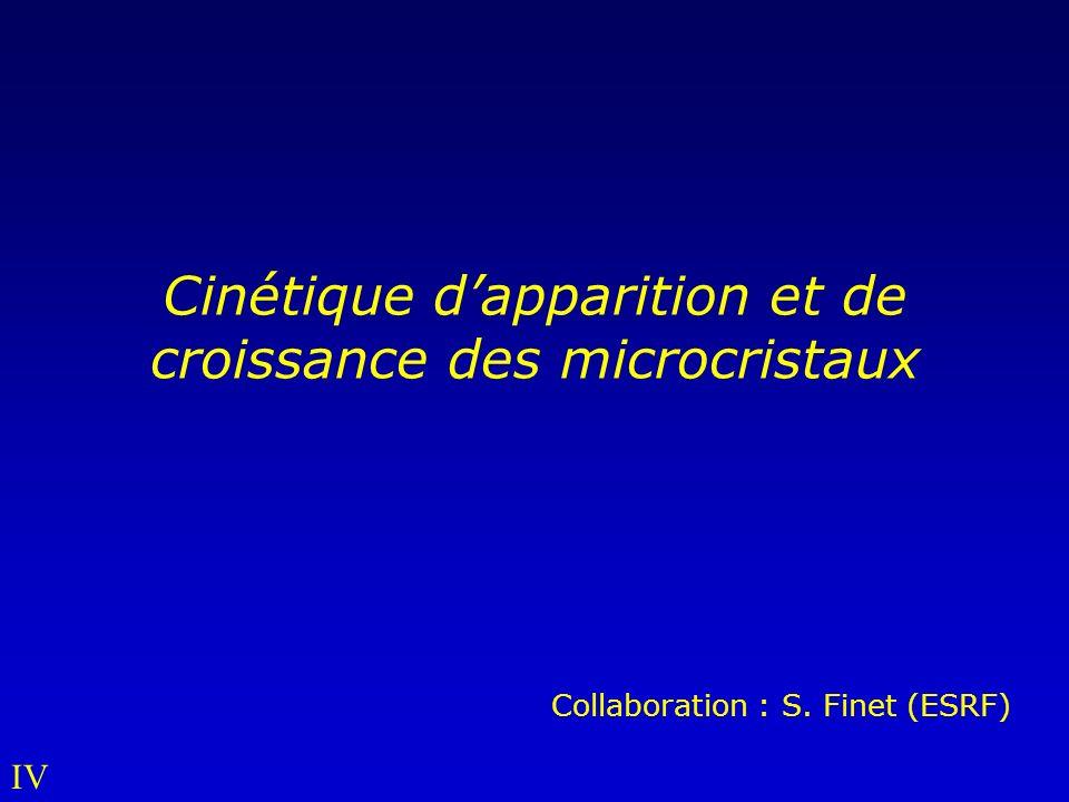 Cinétique dapparition et de croissance des microcristaux Collaboration : S. Finet (ESRF) IV
