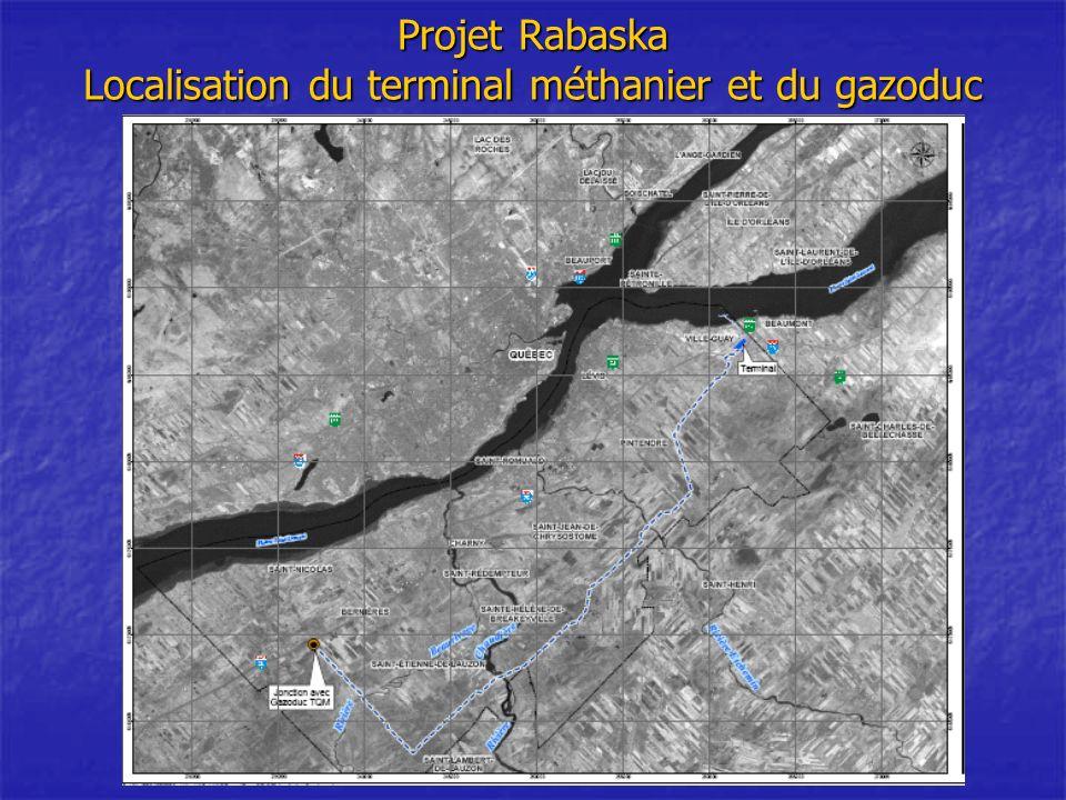 Projet Rabaska Localisation du terminal méthanier et du gazoduc