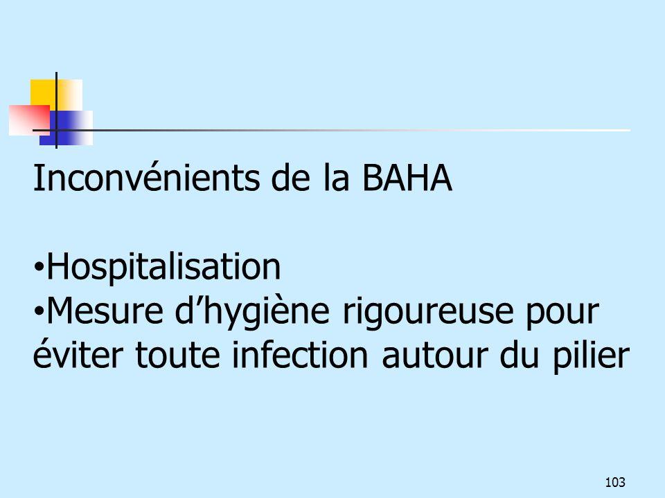 Inconvénients de la BAHA Hospitalisation Mesure dhygiène rigoureuse pour éviter toute infection autour du pilier 103