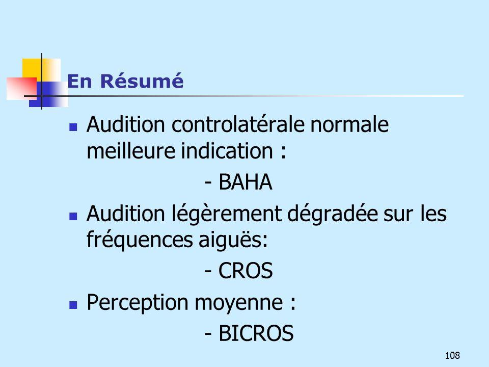 En Résumé Audition controlatérale normale meilleure indication : - BAHA Audition légèrement dégradée sur les fréquences aiguës: - CROS Perception moye