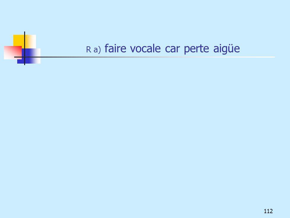 R a) faire vocale car perte aigüe 112