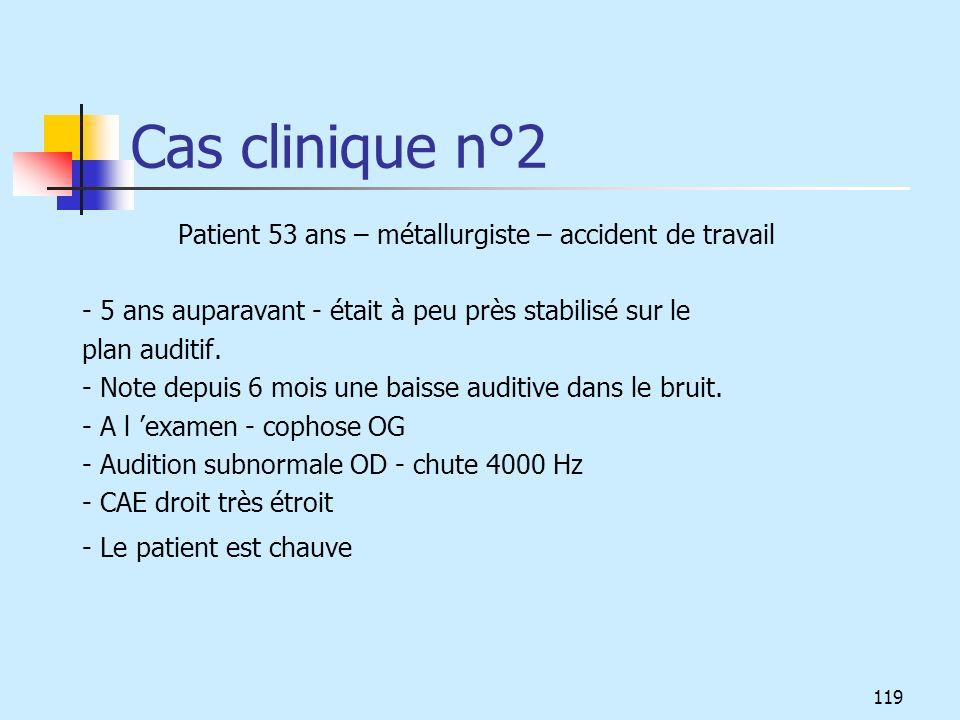 Cas clinique n°2 Patient 53 ans – métallurgiste – accident de travail - 5 ans auparavant - était à peu près stabilisé sur le plan auditif. - Note depu