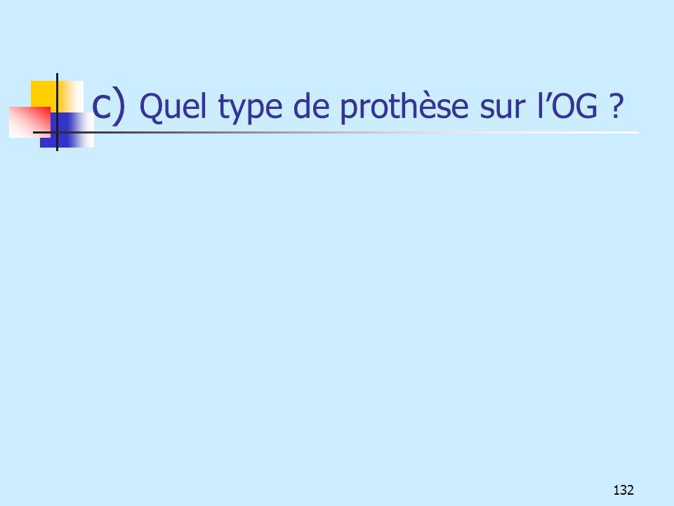 c) Quel type de prothèse sur lOG ? 132