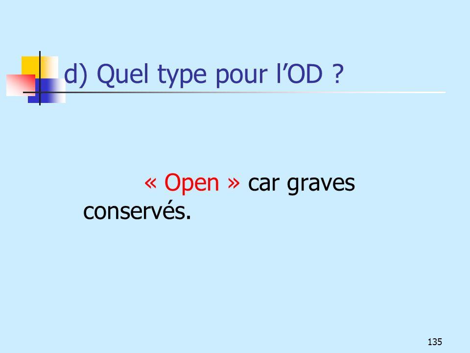 d) Quel type pour lOD ? « Open » car graves conservés. 135