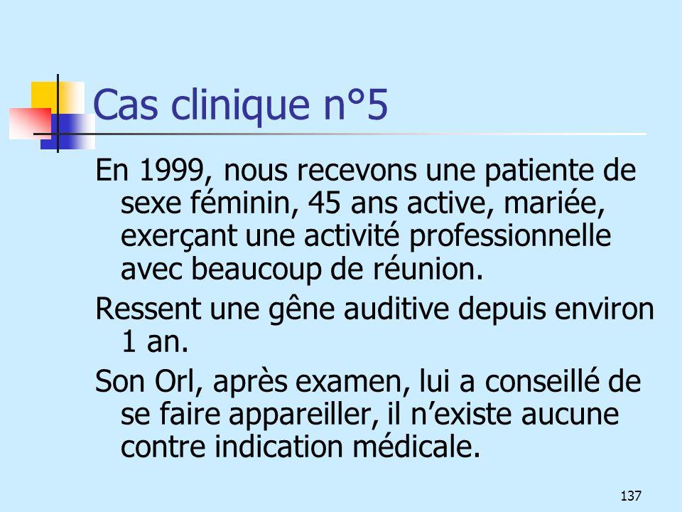 Cas clinique n°5 En 1999, nous recevons une patiente de sexe féminin, 45 ans active, mariée, exerçant une activité professionnelle avec beaucoup de ré
