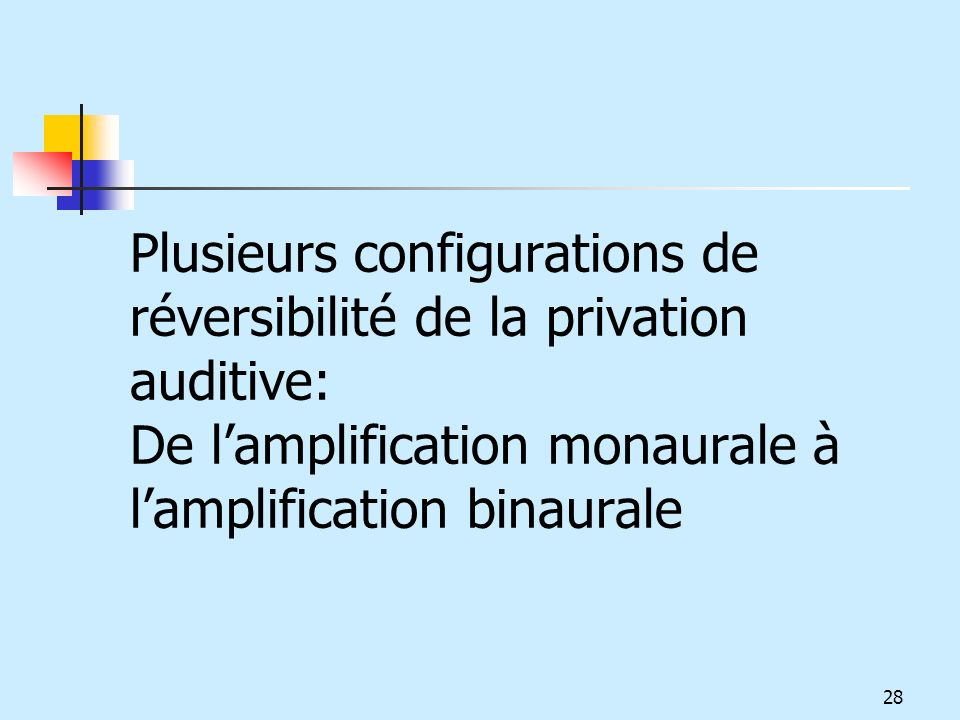 Plusieurs configurations de réversibilité de la privation auditive: De lamplification monaurale à lamplification binaurale 28