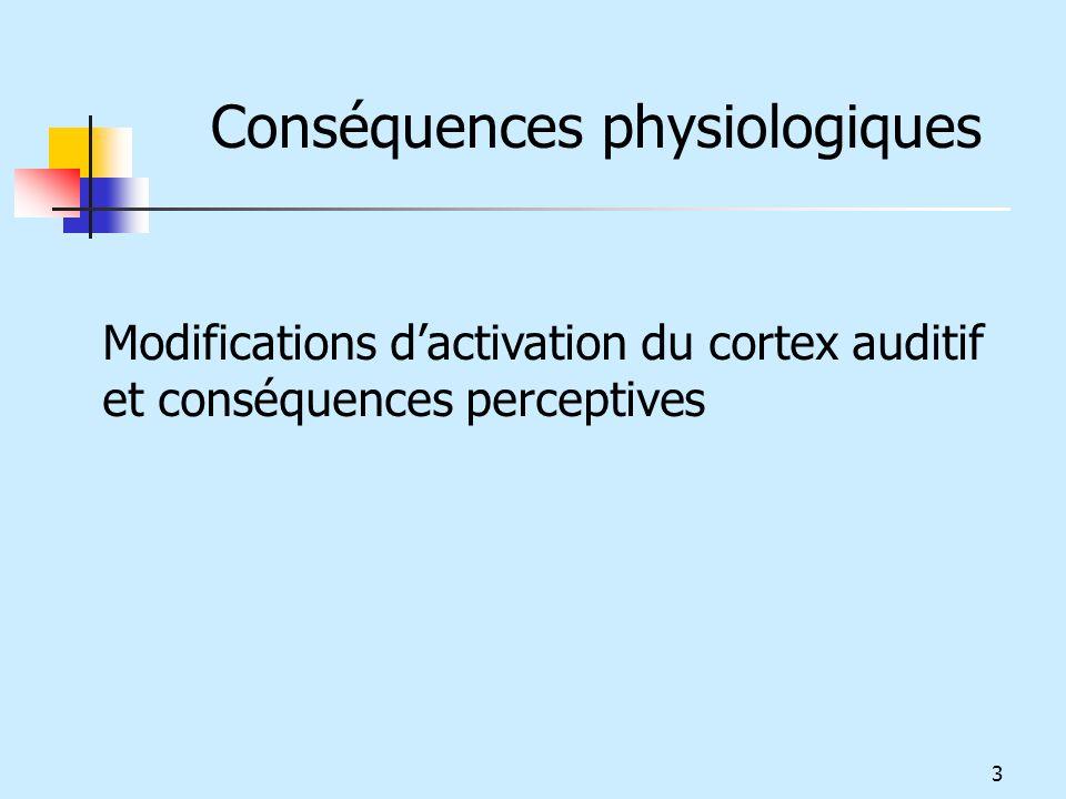 Modifications dactivation du cortex auditif et conséquences perceptives Conséquences physiologiques 3