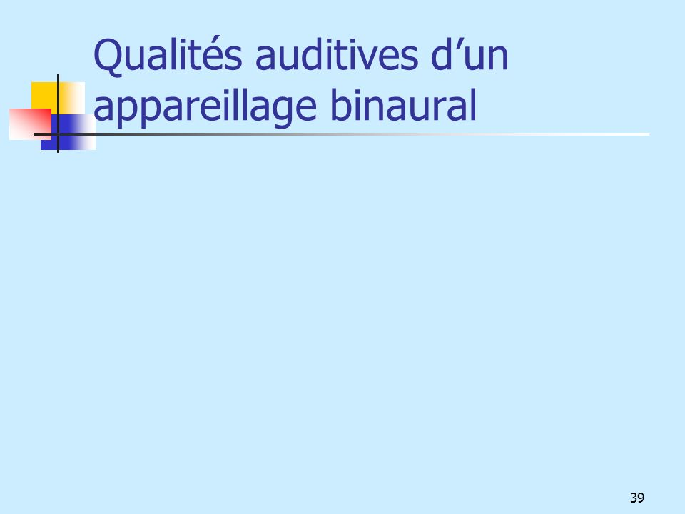 Qualités auditives dun appareillage binaural 39