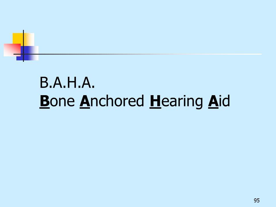 B.A.H.A. Bone Anchored Hearing Aid 95