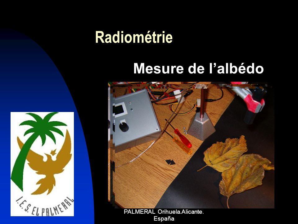 COMENIUS 1 I.E.S. EL PALMERAL Orihuela.Alicante. España Radiométrie Mesure de lalbédo
