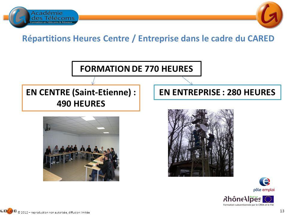 13 © 2012 – reproduction non autorisée, diffusion limitée FORMATION DE 770 HEURES EN CENTRE (Saint-Etienne) : 490 HEURES EN ENTREPRISE : 280 HEURES Ré