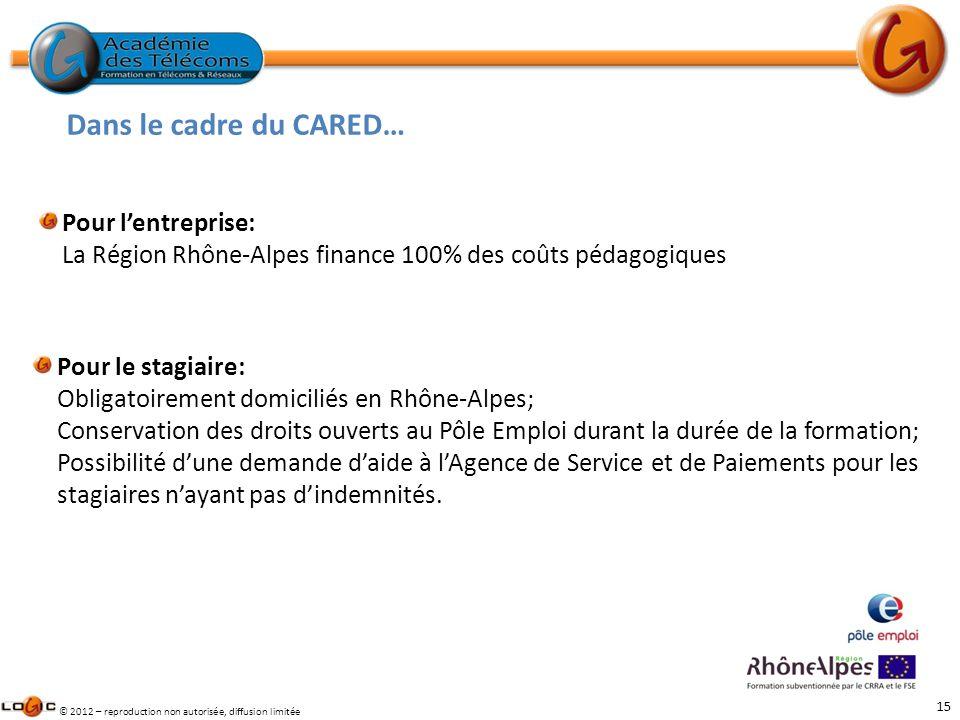 15 © 2012 – reproduction non autorisée, diffusion limitée Dans le cadre du CARED… Pour lentreprise: La Région Rhône-Alpes finance 100% des coûts pédag