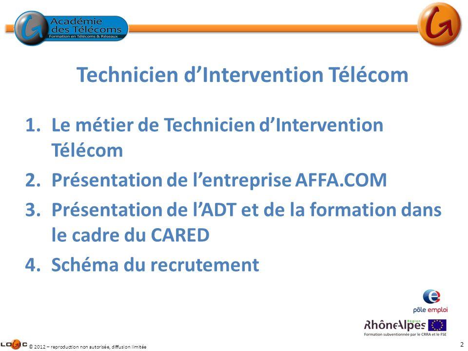 2 © 2012 – reproduction non autorisée, diffusion limitée 1.Le métier de Technicien dIntervention Télécom 2.Présentation de lentreprise AFFA.COM 3.Prés