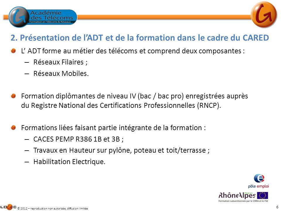 6 © 2012 – reproduction non autorisée, diffusion limitée L ADT forme au métier des télécoms et comprend deux composantes : – Réseaux Filaires ; – Rése
