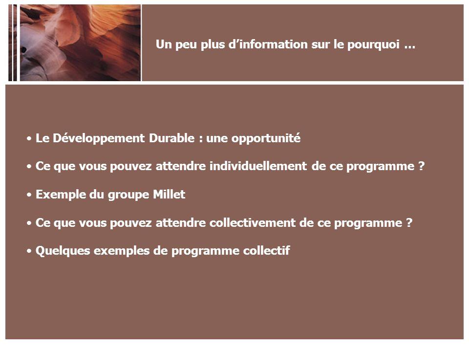 Un peu plus dinformation sur le pourquoi … Le Développement Durable : une opportunité Ce que vous pouvez attendre individuellement de ce programme .