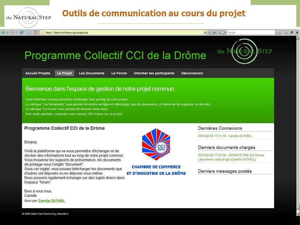 The Natural Step France – CCI Drôme – Action collective 201037 Outils de communication au cours du projet
