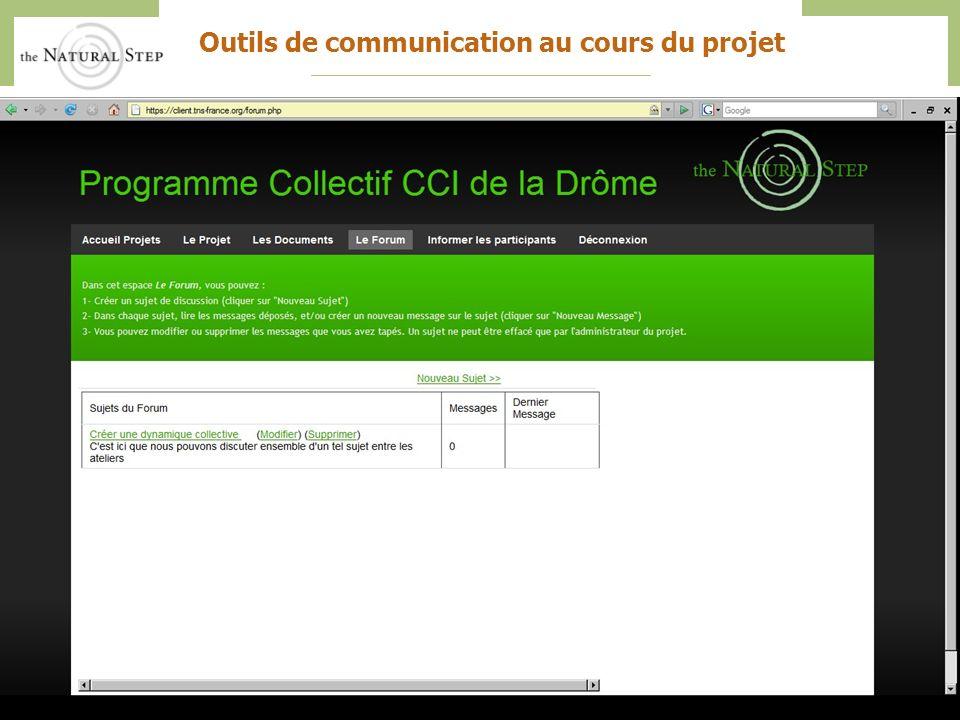 The Natural Step France – CCI Drôme – Action collective 201039 Outils de communication au cours du projet