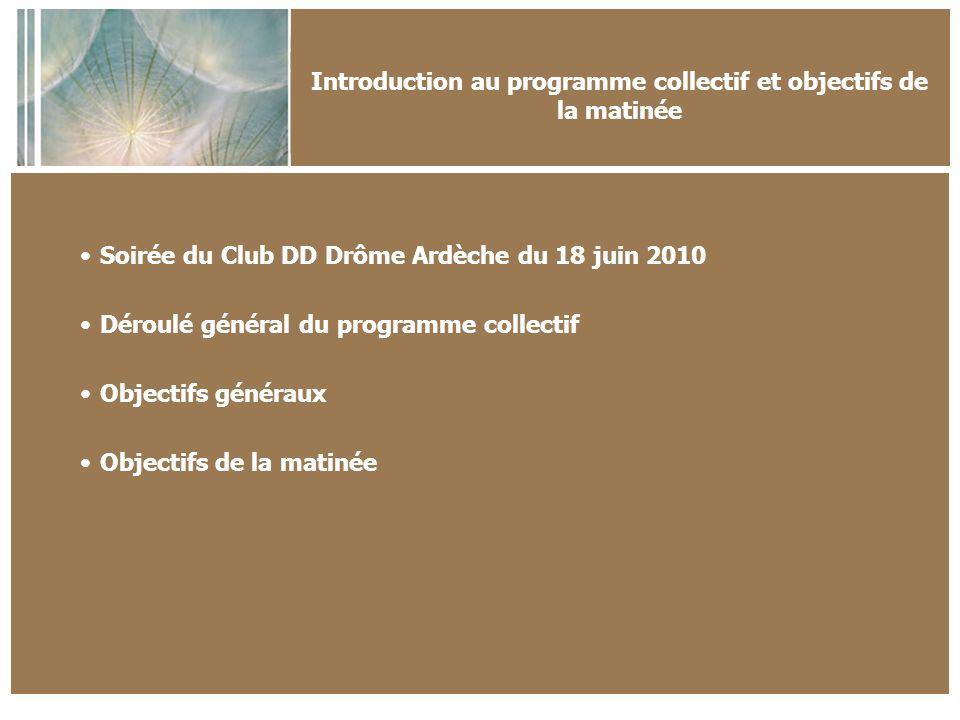 Introduction au programme collectif et objectifs de la matinée Soirée du Club DD Drôme Ardèche du 18 juin 2010 Déroulé général du programme collectif Objectifs généraux Objectifs de la matinée