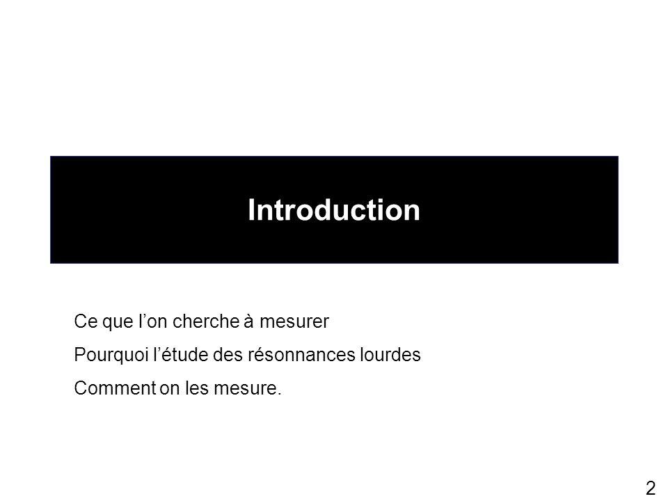 2 Introduction Ce que lon cherche à mesurer Pourquoi létude des résonnances lourdes Comment on les mesure.