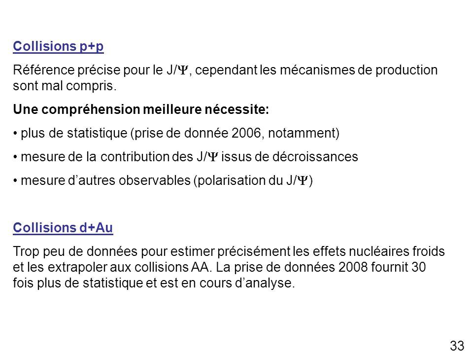 33 Collisions p+p Référence précise pour le J/, cependant les mécanismes de production sont mal compris. Une compréhension meilleure nécessite: plus d