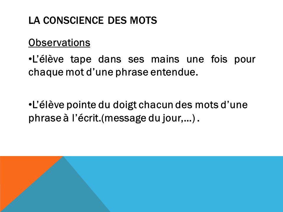 LA CONSCIENCE DES MOTS Observations Lélève tape dans ses mains une fois pour chaque mot dune phrase entendue.