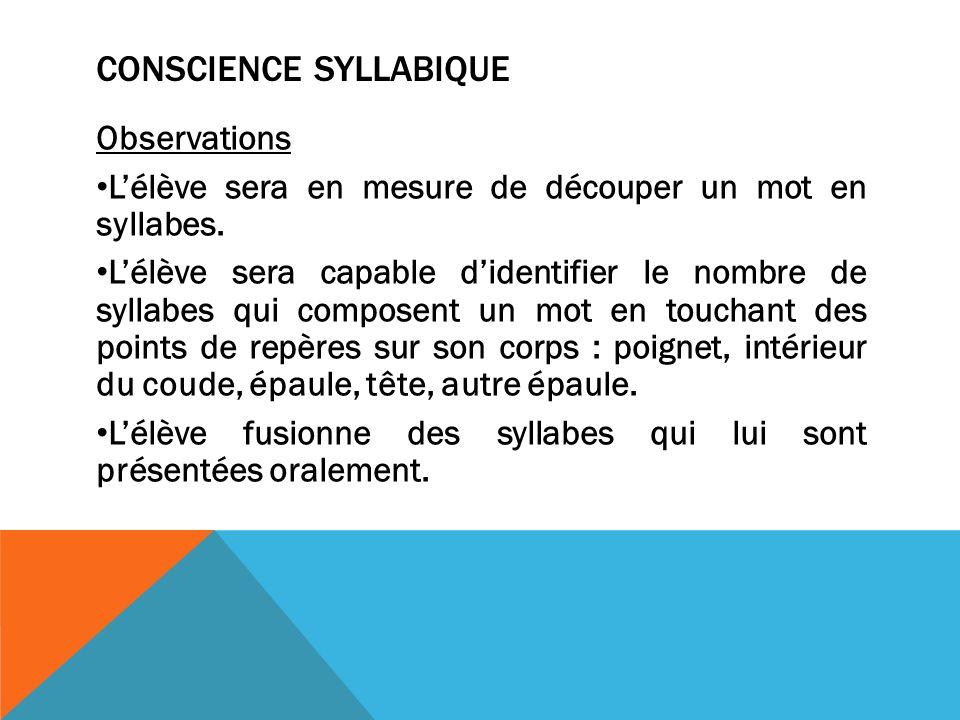 CONSCIENCE SYLLABIQUE Observations Lélève sera en mesure de découper un mot en syllabes.
