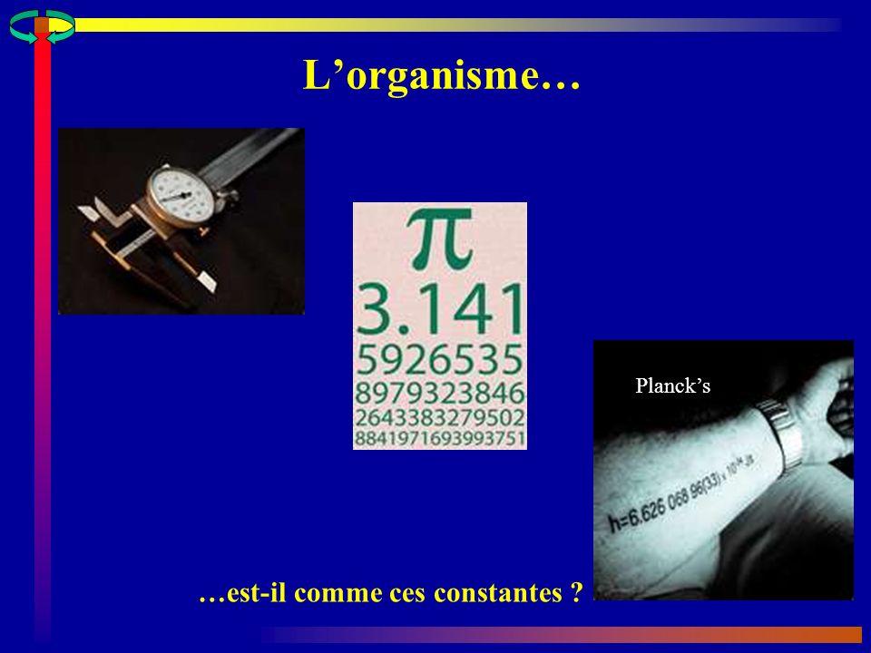 Lorganisme… …est-il comme ces constantes ? Plancks