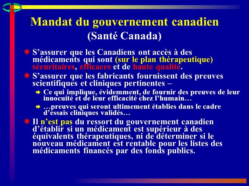 Mandat du gouvernement canadien (Santé Canada) Sassurer que les Canadiens ont accès à des médicaments qui sont (sur le plan thérapeutique) sécuritaires, efficaces et de haute qualité.