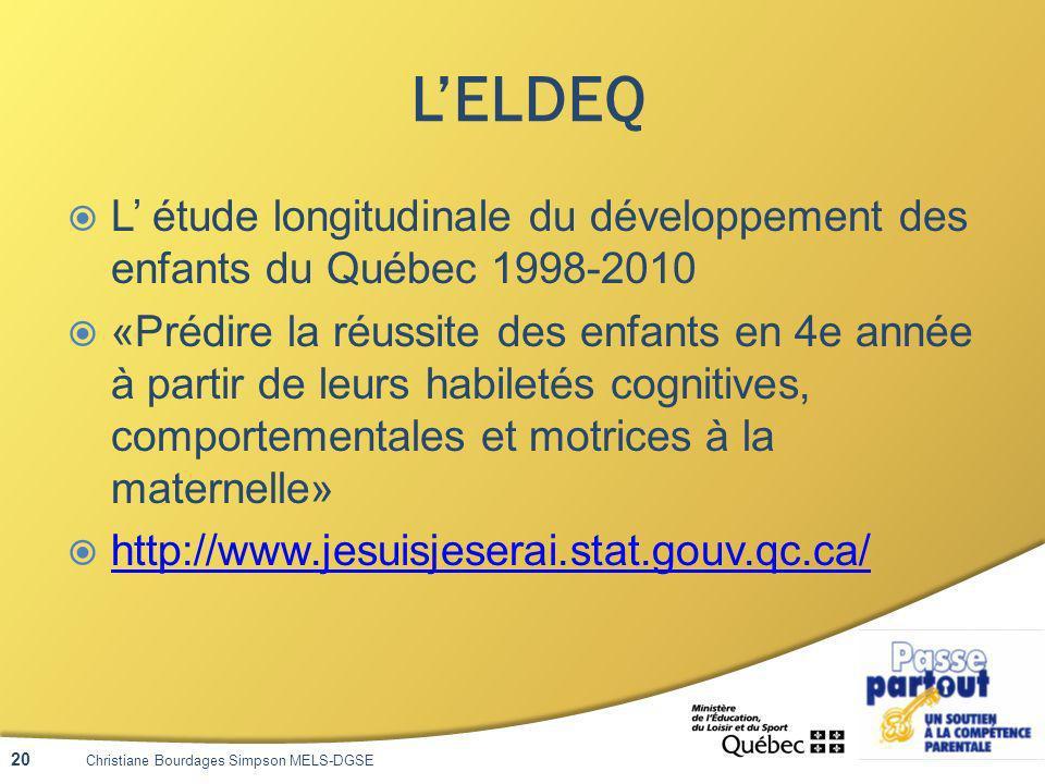 LELDEQ L étude longitudinale du développement des enfants du Québec 1998-2010 «Prédire la réussite des enfants en 4e année à partir de leurs habiletés cognitives, comportementales et motrices à la maternelle» http://www.jesuisjeserai.stat.gouv.qc.ca/ Christiane Bourdages Simpson MELS-DGSE 20