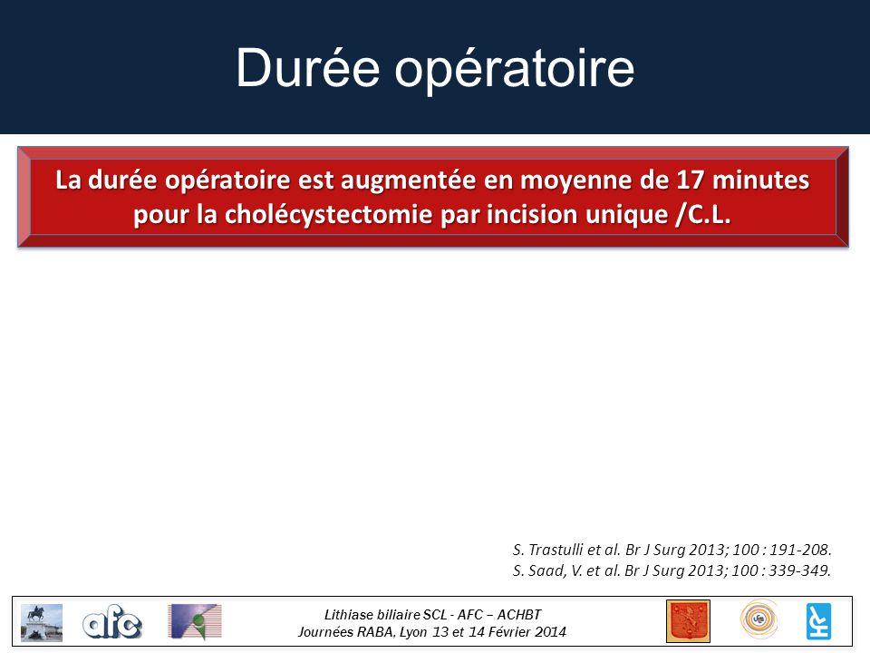 Lithiase biliaire SCL - AFC – ACHBT Journées RABA, Lyon 13 et 14 Février 2014 Durée opératoire S. Trastulli et al. Br J Surg 2013; 100 : 191-208. S. S