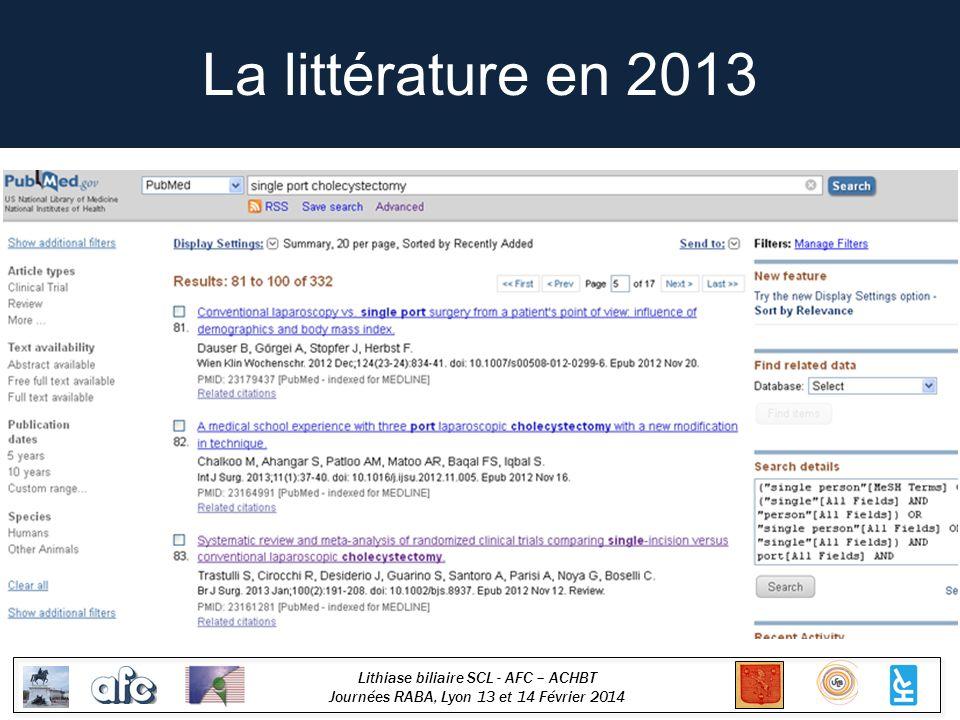 Lithiase biliaire SCL - AFC – ACHBT Journées RABA, Lyon 13 et 14 Février 2014 La littérature en 2013