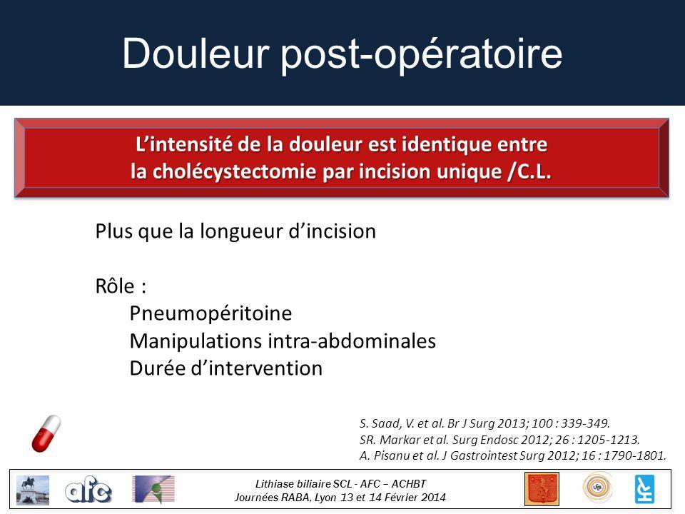 Lithiase biliaire SCL - AFC – ACHBT Journées RABA, Lyon 13 et 14 Février 2014 Douleur post-opératoire S. Saad, V. et al. Br J Surg 2013; 100 : 339-349
