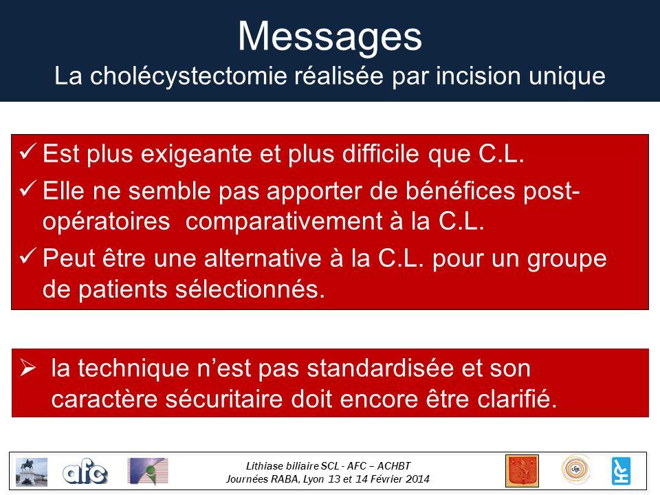 Lithiase biliaire SCL - AFC – ACHBT Journées RABA, Lyon 13 et 14 Février 2014 Messages La cholécystectomie réalisée par incision unique Est plus exige