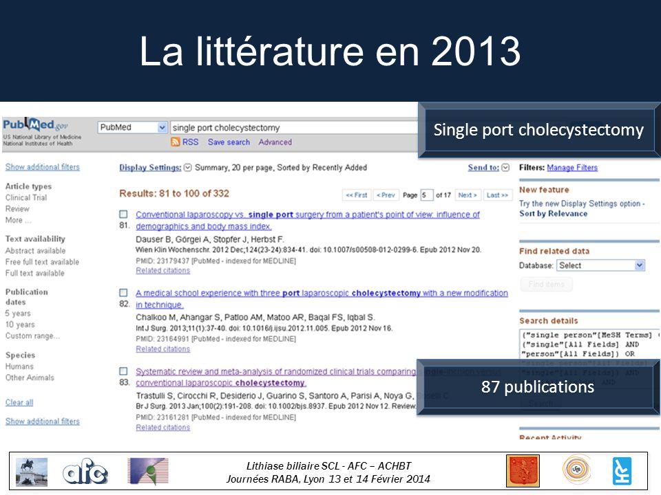 Lithiase biliaire SCL - AFC – ACHBT Journées RABA, Lyon 13 et 14 Février 2014 La littérature en 2013 Single port cholecystectomy 87 publications