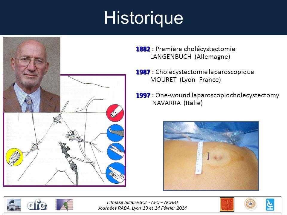 Lithiase biliaire SCL - AFC – ACHBT Journées RABA, Lyon 13 et 14 Février 2014 Historique 1882 1882 : Première cholécystectomie LANGENBUCH (Allemagne) 1987 1987 : Cholécystectomie laparoscopique MOURET (Lyon- France) 1997 1997 : One-wound laparoscopic cholecystectomy NAVARRA (Italie)