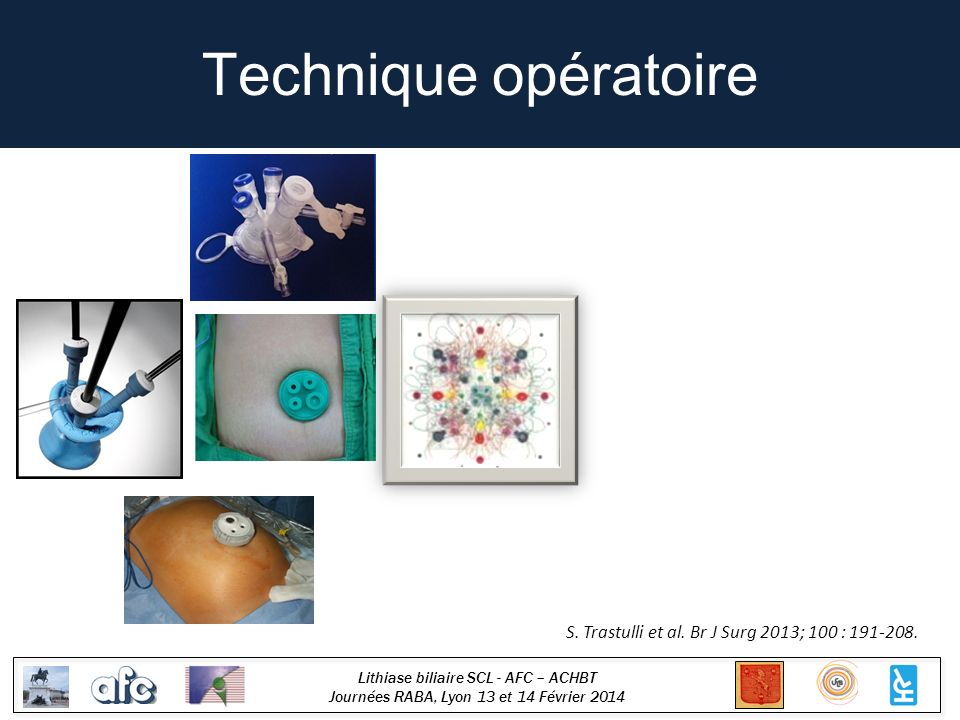 Lithiase biliaire SCL - AFC – ACHBT Journées RABA, Lyon 13 et 14 Février 2014 Technique opératoire S.