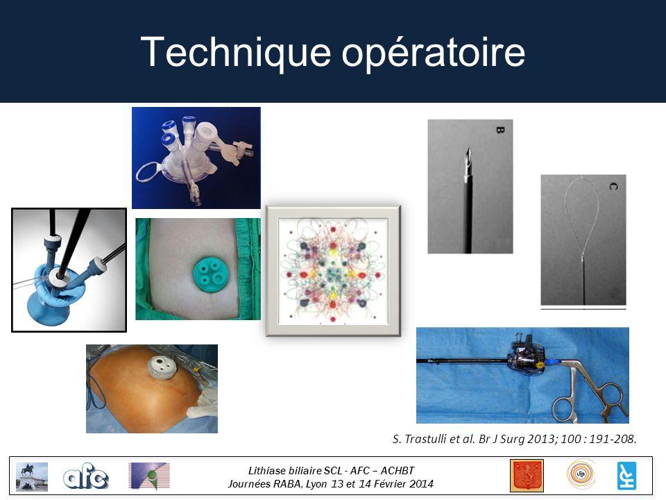 Lithiase biliaire SCL - AFC – ACHBT Journées RABA, Lyon 13 et 14 Février 2014 Technique opératoire S. Trastulli et al. Br J Surg 2013; 100 : 191-208.