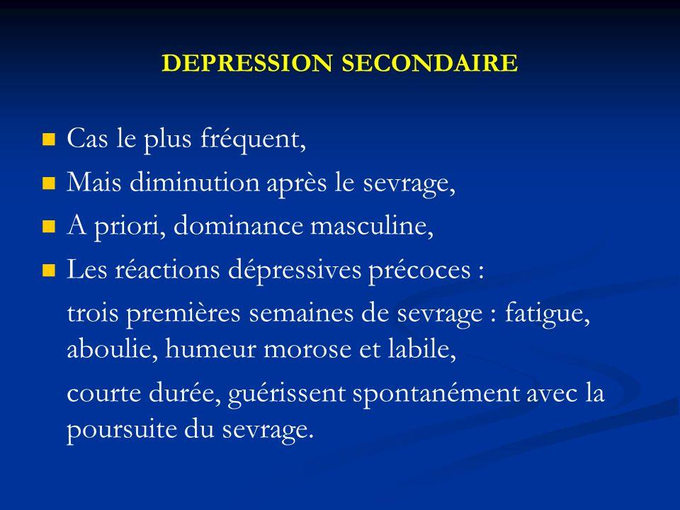 DEPRESSION PRIMAIRE Plus fréquente chez la femme, Résistance au sevrage, A évoquer devant : Un trouble de lhumeur persistant depuis plus d1 mois chez un alcoolique sevré.