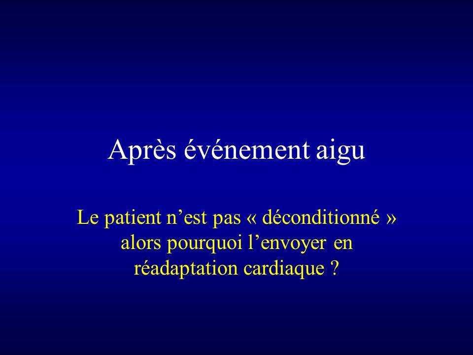 Après événement aigu Le patient nest pas « déconditionné » alors pourquoi lenvoyer en réadaptation cardiaque ?